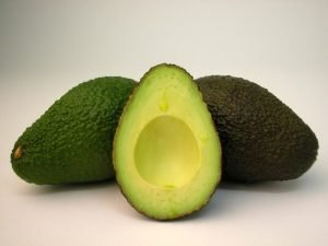 A Hass Avocado opened
