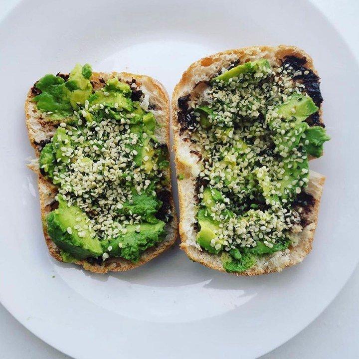 Vegemite and avocado toast with hemp seeds