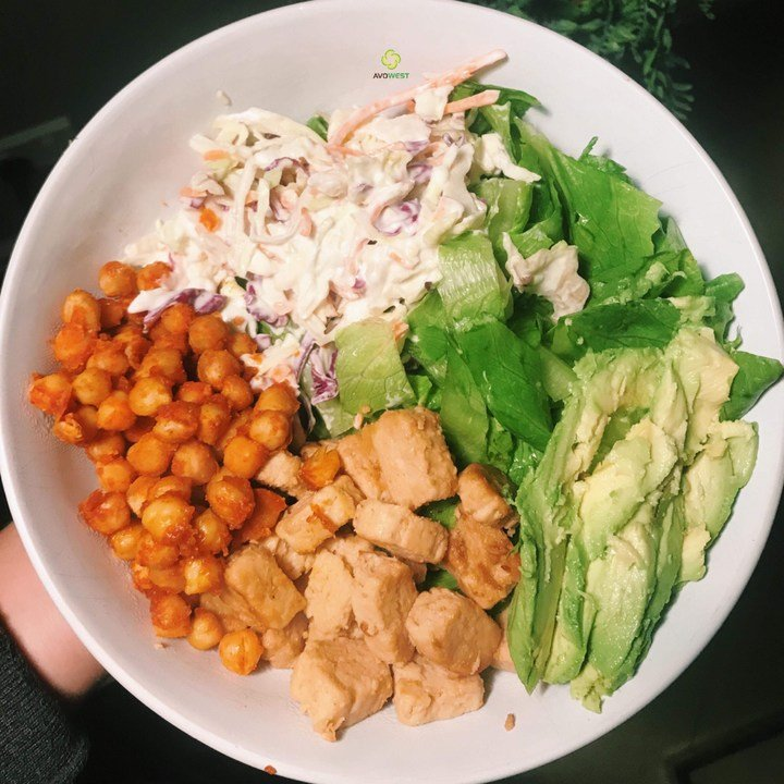 Amy's Mexican chickpeas, coleslaw, mock chicken