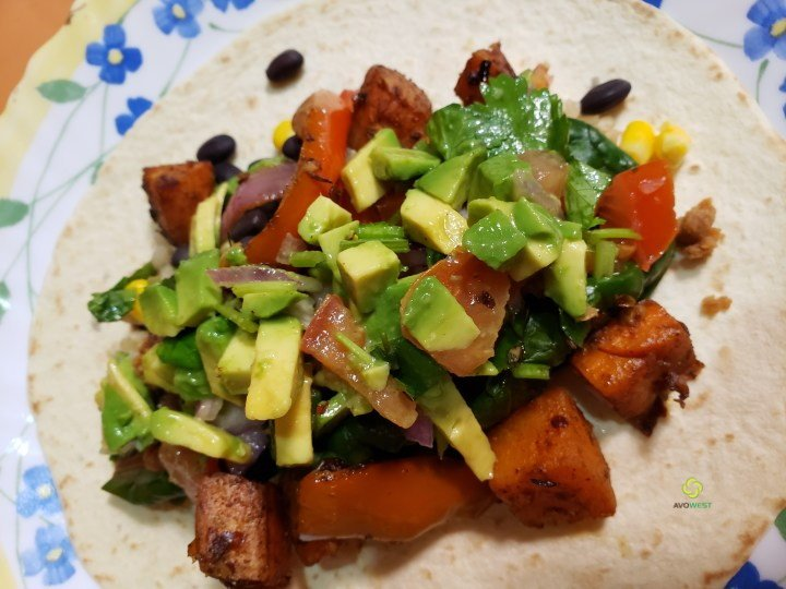 Sweet Potato and Black Bean Burritos with Avocado Salsa